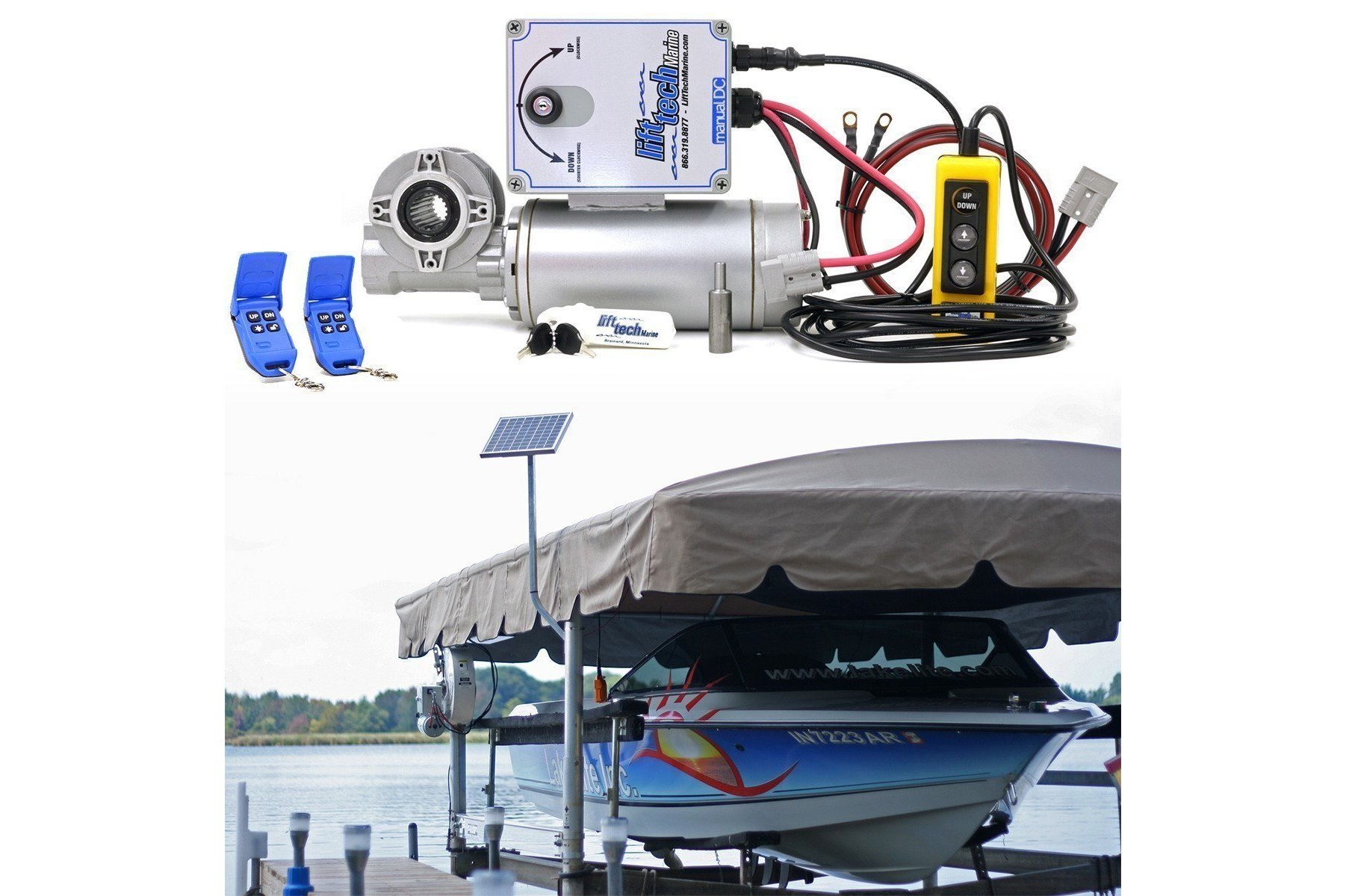 12v boat lift motor 10w 12v solar charging system for Electric boat lift motor