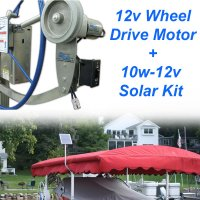 12v Wheel Drive Boat Lift Motor + 10w-12v Boat Lift Charging Kit