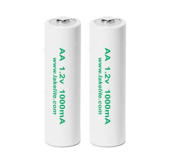 2 Pack AA 1.2v 1000mA Rechargeable Batteries