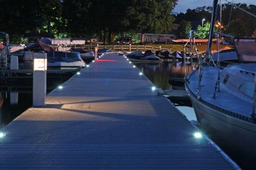 Solar Deck Lights installed at night