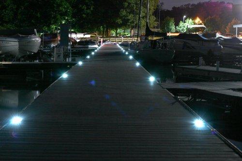 Solar Deck Lights installed at night 2