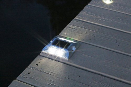 Solar Deck Lights nighttime close up