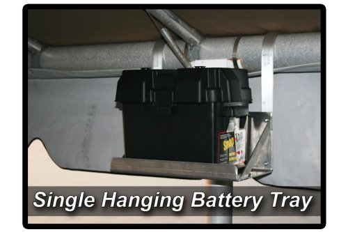 Single Hanging Boat Lift Battery Tray - Rounded Arms