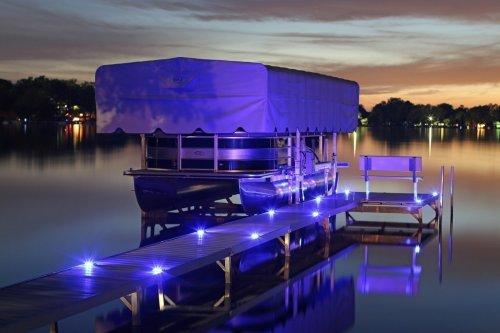 Blue Solar Dock Lights at Night