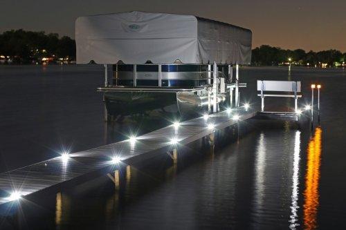 White solar dock lights at night