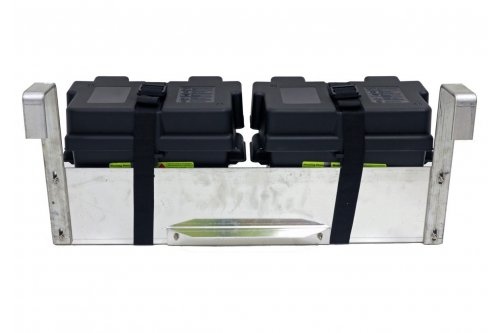 Dual Hanging Boat Lift Battery Tray - Square Arms